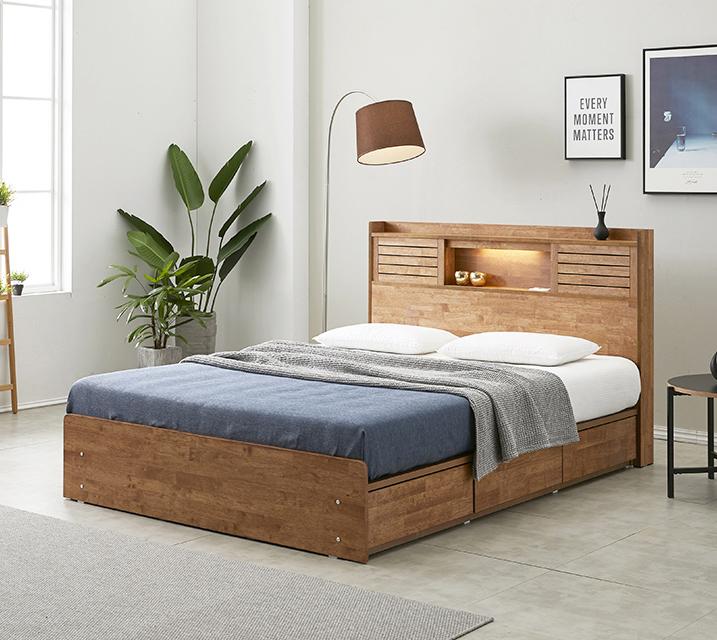 아가타 고무나무 LED 3단 서랍 침대 퀸 (Q) 침대세트 [독립매트리스포함]/ 월 67,800원